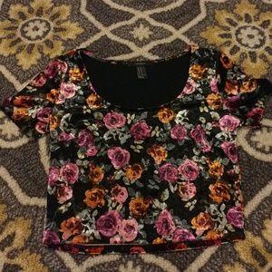 Forever 21 Velvet Floral Crop Top